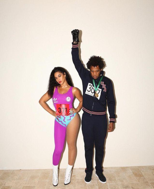 Beyoncé et Jay Z déguisés en athlètes Americain Flo Jo etTommie Smith (2018)