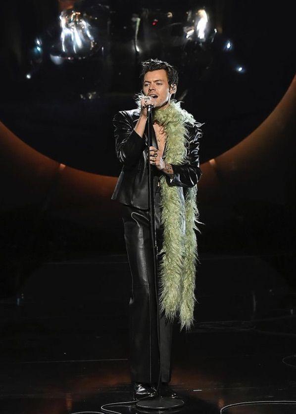 Harry Styles avec boa vert