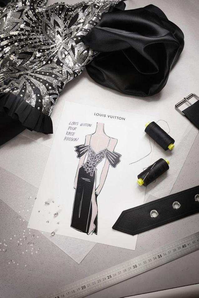 Le croquis de la robe Louis Vuitton de Kate Hudson pour les Golden Globes 2021