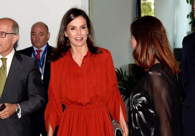 Letizia d'Espagne : reine de la mode en robe rouge et python