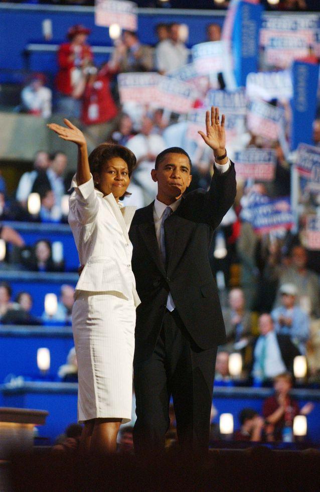 Tailleur blanc lors de la campagne de 2008