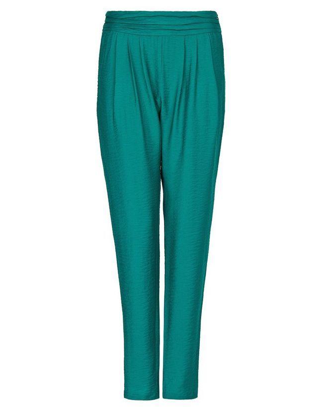 Pantalon vert à taille drapée Mango