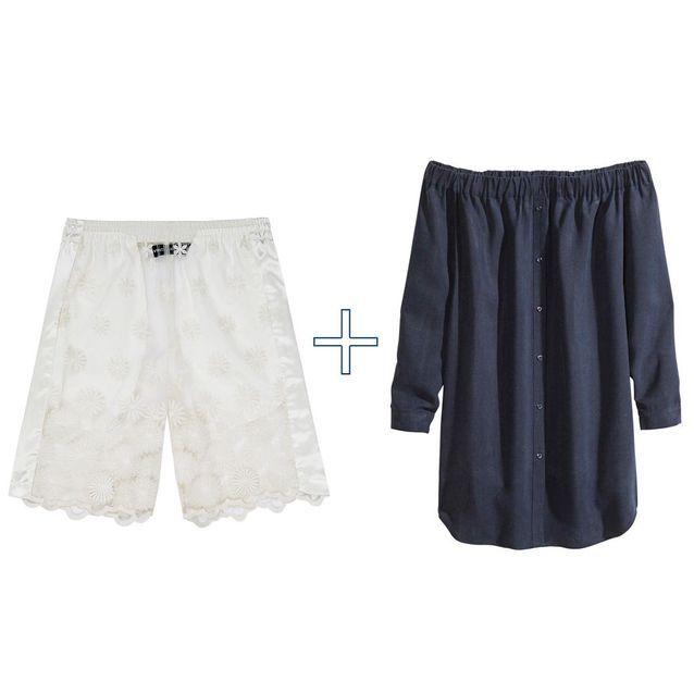 Short en dentelle + robe en denim