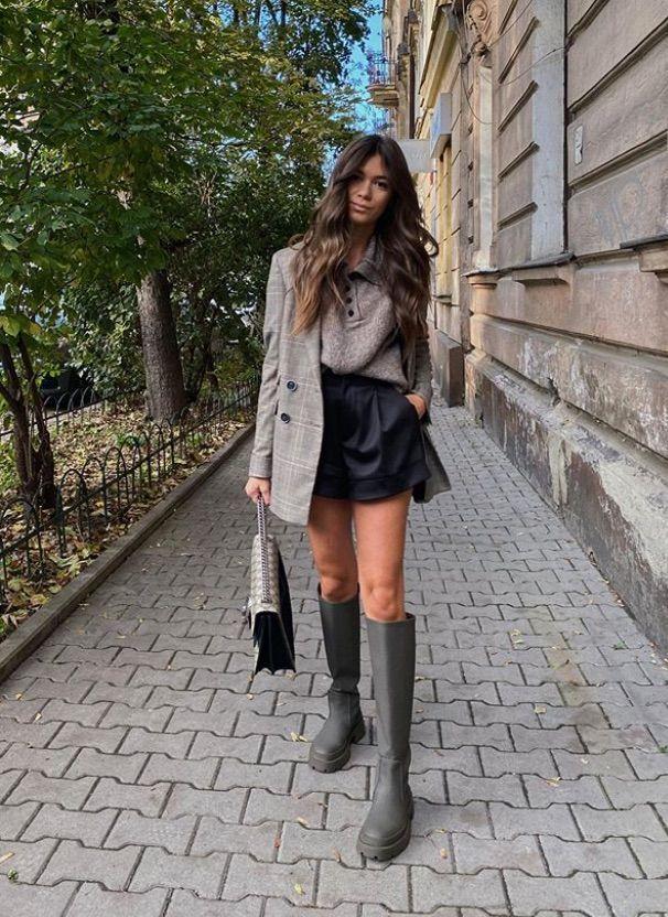 Bottes de pluie avec short en cuir