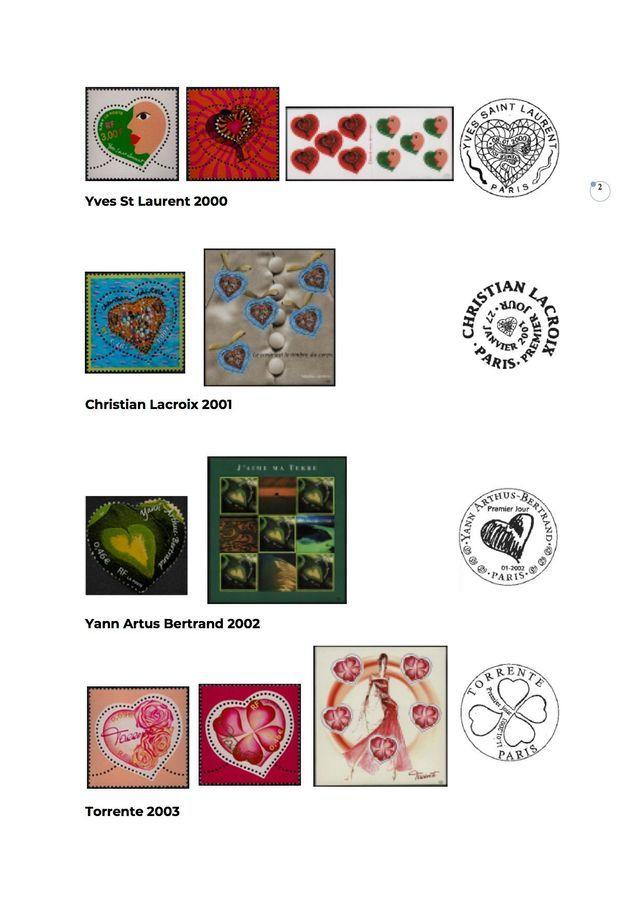 Timbres coeur de 2000 à 2003
