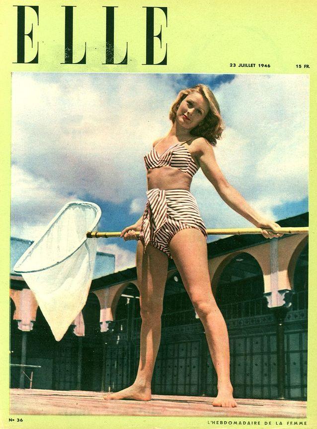 La première une de ELLE avec un Bikini en 1946