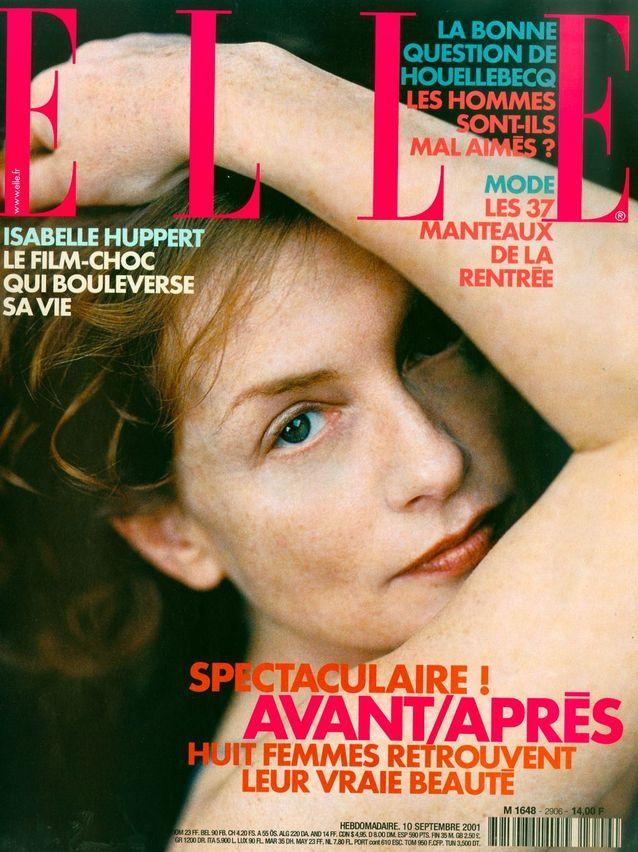 Isabelle Huppert en couverture de ELLE par Peter Lindbergh
