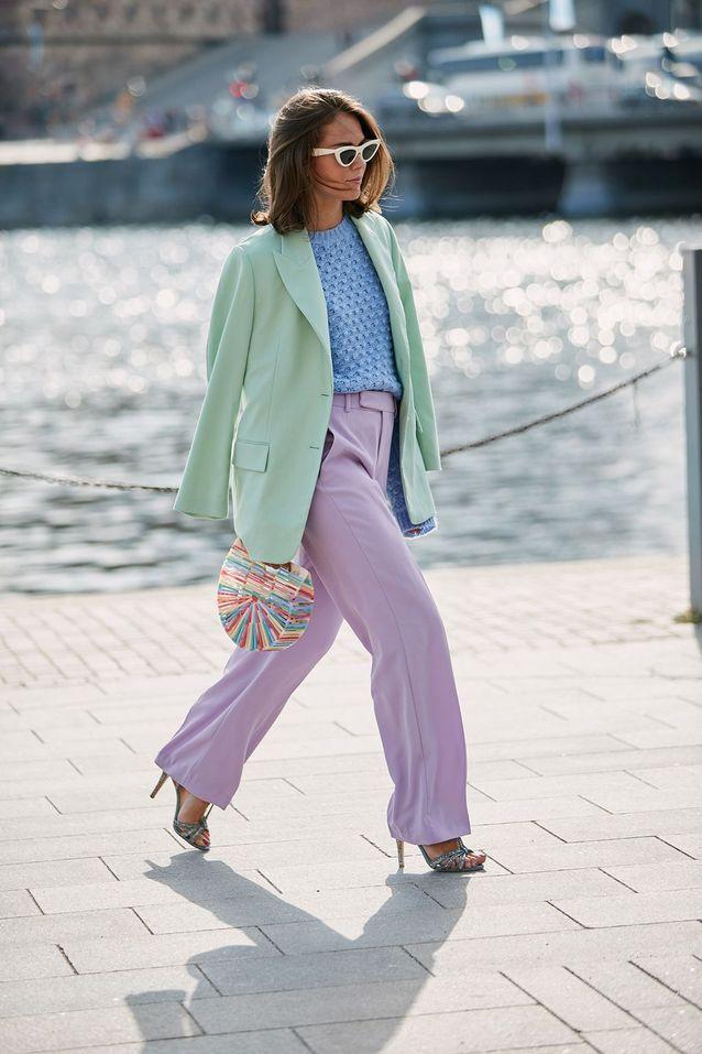 Un blazer XXL avec un look pastel