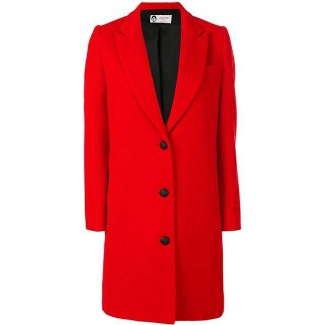 Manteau rouge à boutons noirs Lanvin