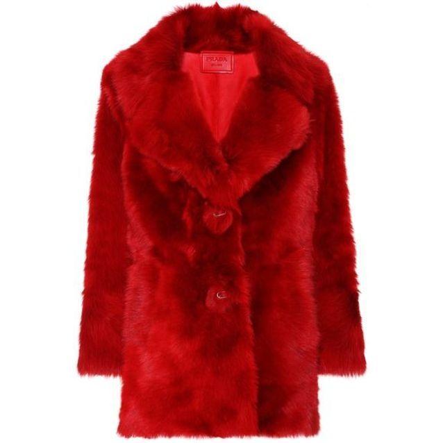 Manteau rouge en fourrure Prada