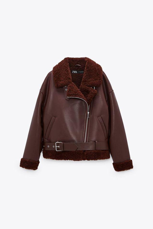 Veste en cuir et peau lainée Zara
