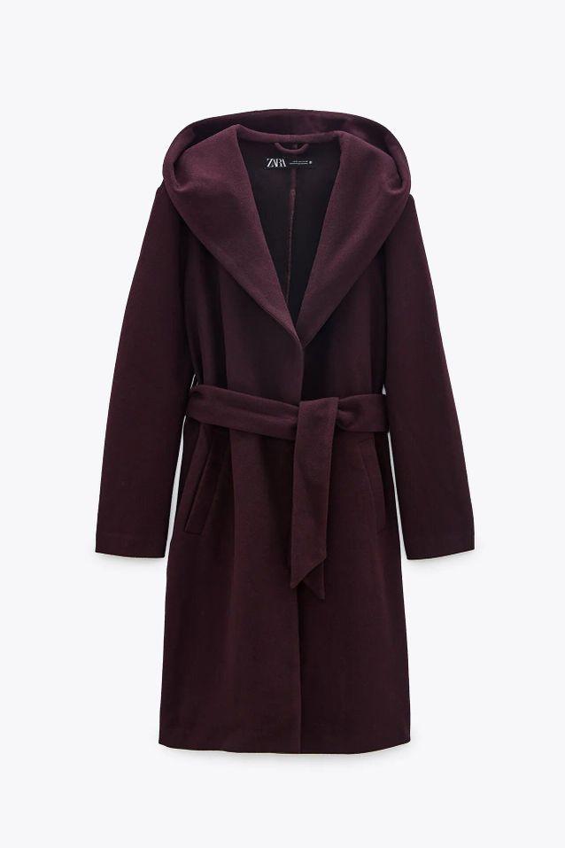 Manteau à capuche prune soldé Zara