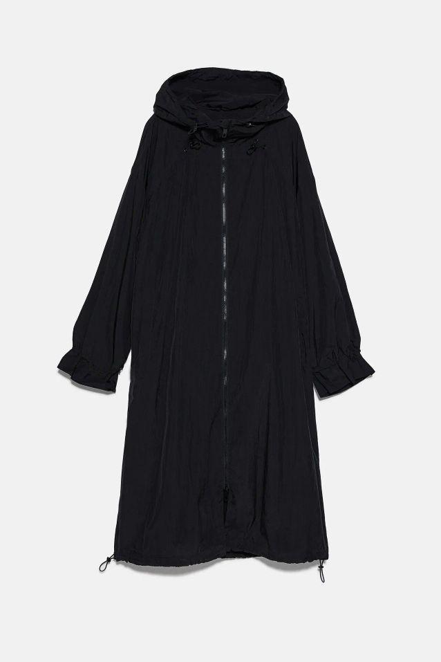 Manteau ciré noi soldé Zara