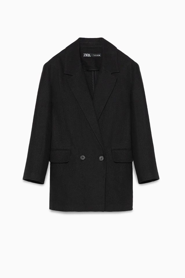 Manteau croisé noir soldé Zara