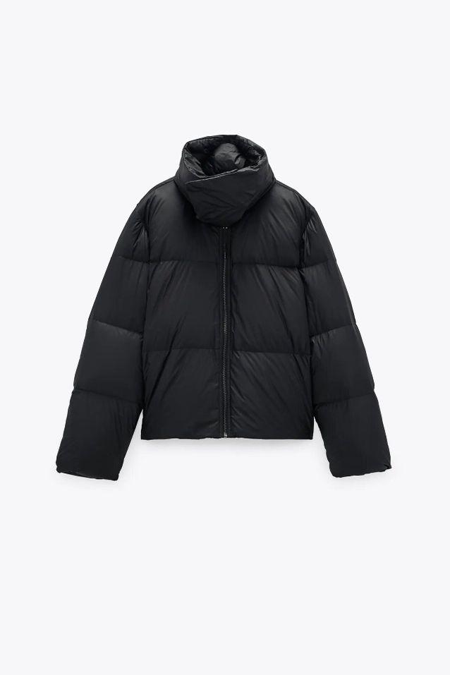 Manteau doudoune noire soldé Zara