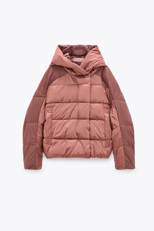 Manteau doudoune rose soldé Zara