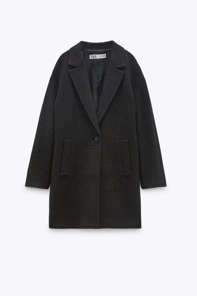 Manteau en laine à petits carreaux soldé Zara