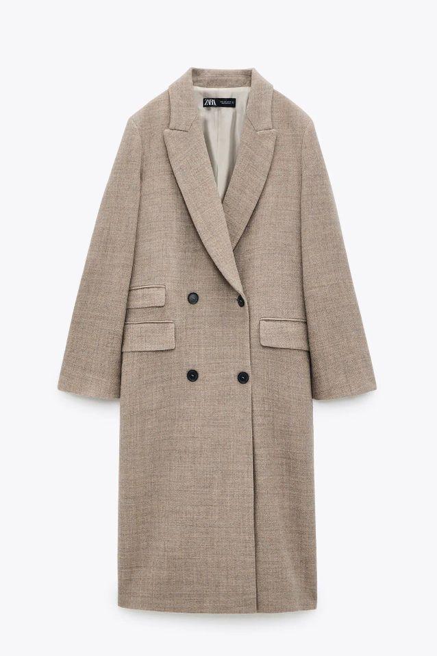 Manteau en laine beige soldé Zara