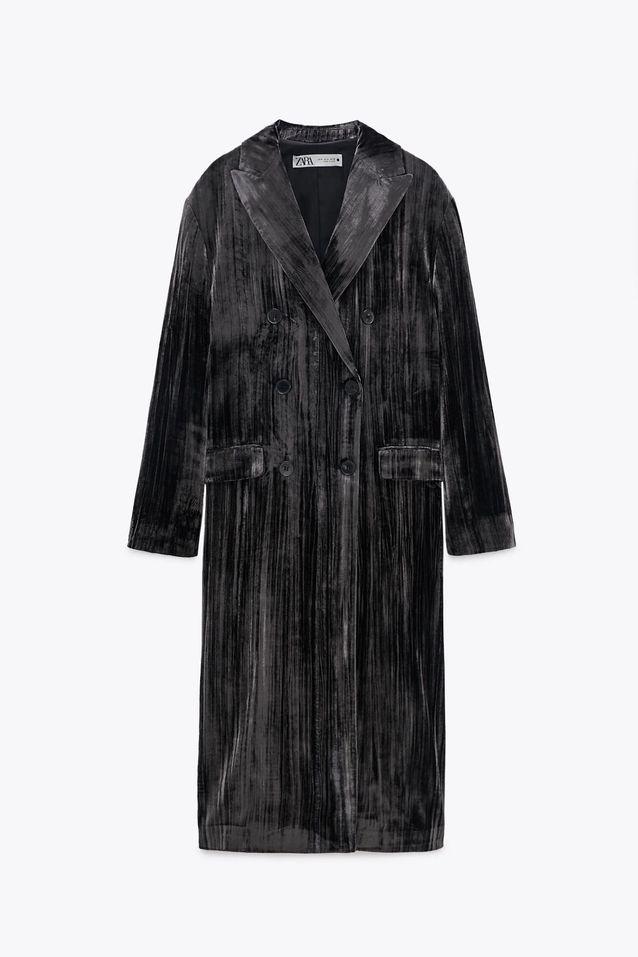 Manteau en velours gris soldé Zara