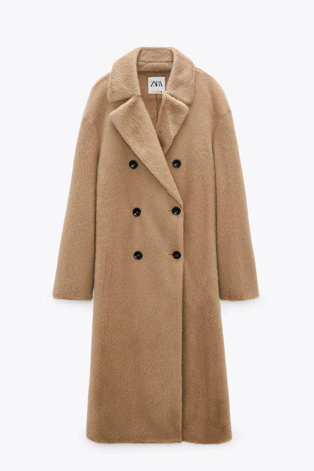 Manteau fausse fourrure croisé soldé Zara