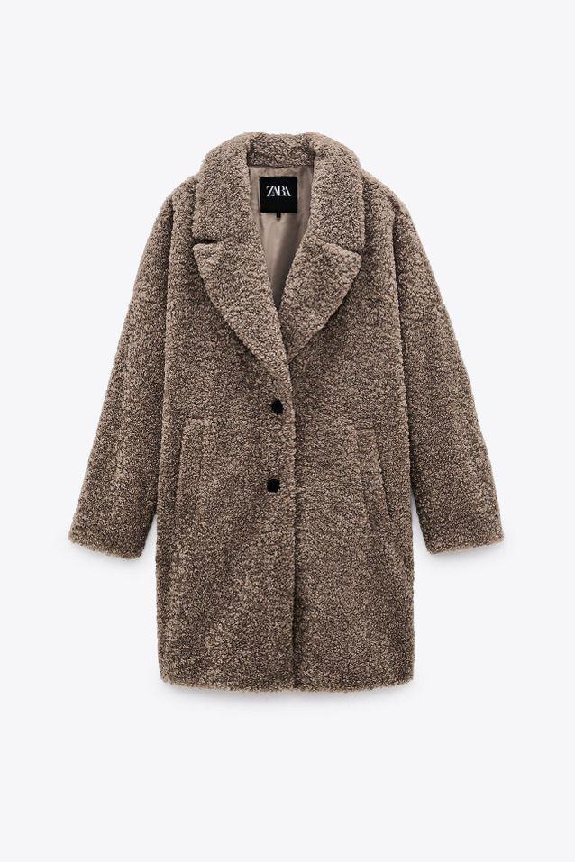 Manteau fausse fourrure marron soldé Zara