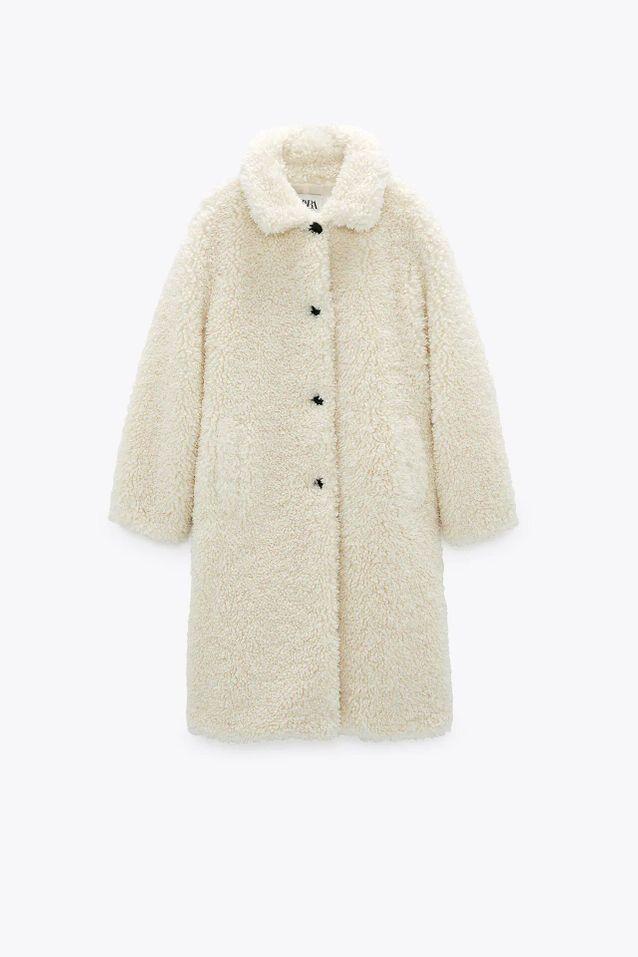 Manteau fausse fourrure blanc soldé Zara