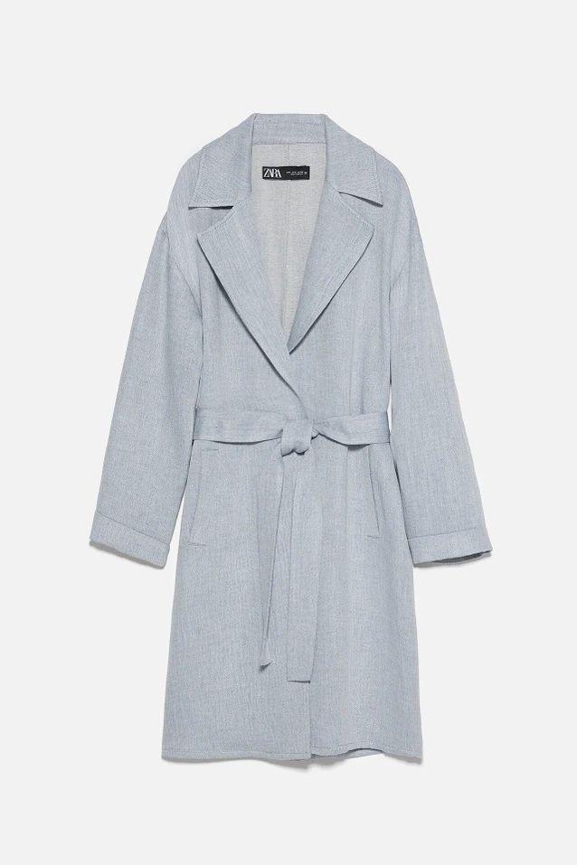 Manteau gabardine bleu soldé Zara
