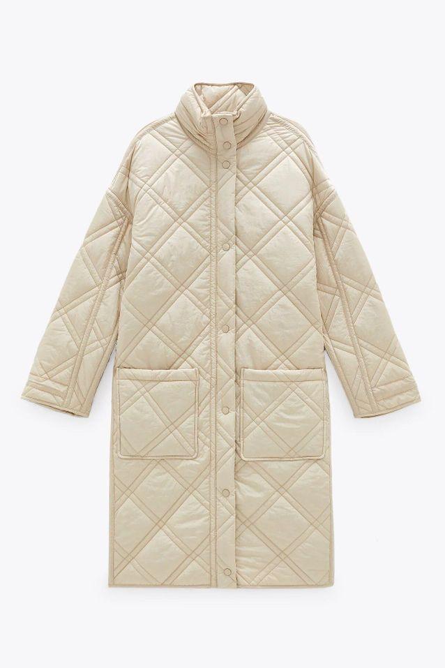 Manteau matelassé long soldé Zara