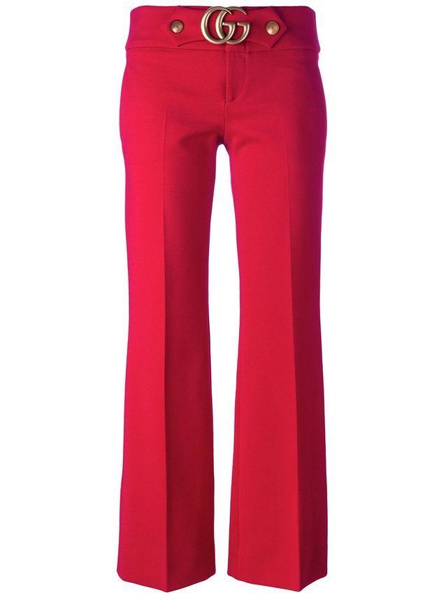 Pantalon rouge griffé Gucci