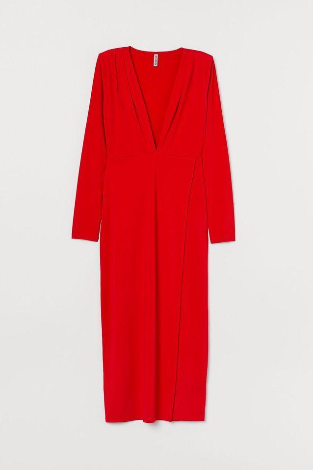 Robe rouge à encolure en V H&M