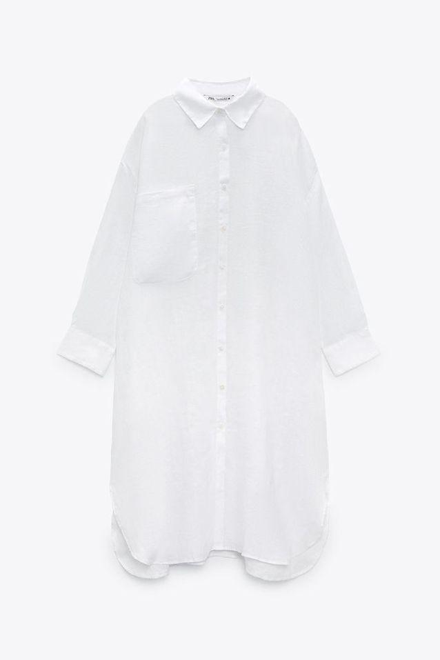 Robe blanche en lin Zara