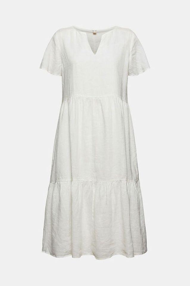 Robe blanche longueur midi à volants Esprit