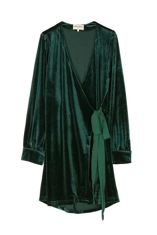 Robe en velours verte Cherry Paris