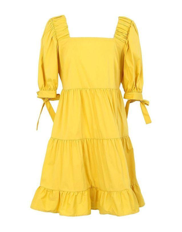 Robe romantique jaune 8 BY YOOX