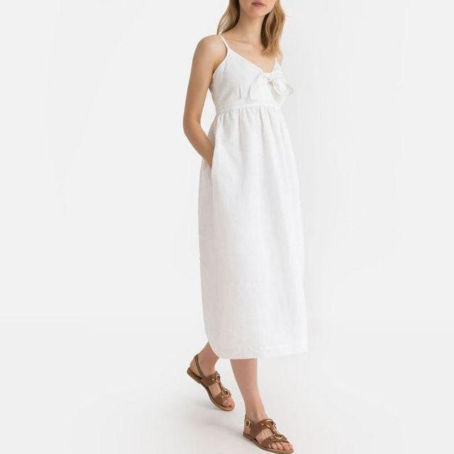 Robe longue en lin soldée La Redoute