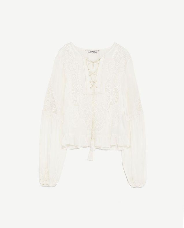 Blouse en dentelle bohème Zara