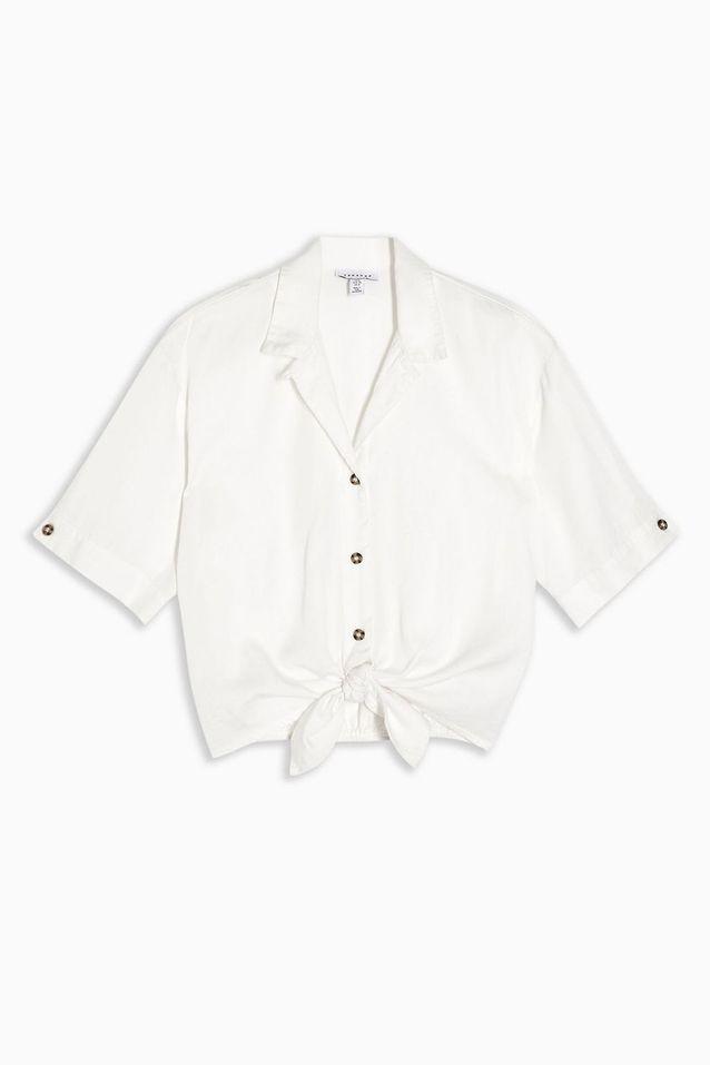 Chemise blanche à nouer Topshop