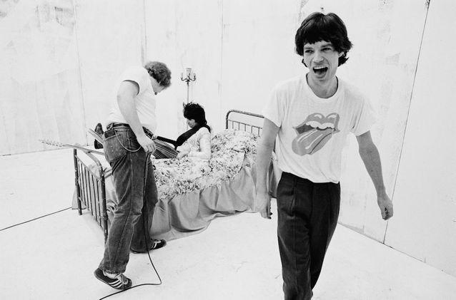 Mike Jagger avec un t-shirt des Rolling Stones
