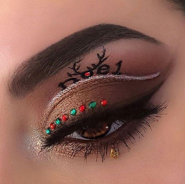 Maquillage des yeux façon renne de Noël , 10 idées