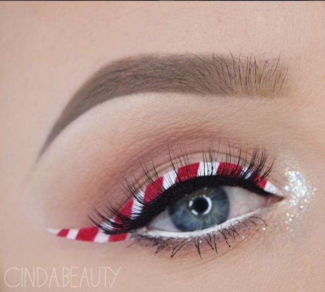Maquillage des yeux façon sucre d'orge