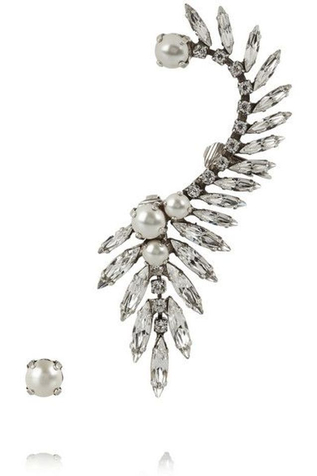 Boucles d'oreilles en plaqué argent oxydé, cristaux Swarovski et perles, Ryan Storer