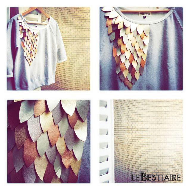 Sweat coton et cuir irisé, Le Bestiaire