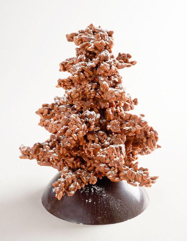 Sapin croquelines aux chocolats lait et noir, Yves Thuriès