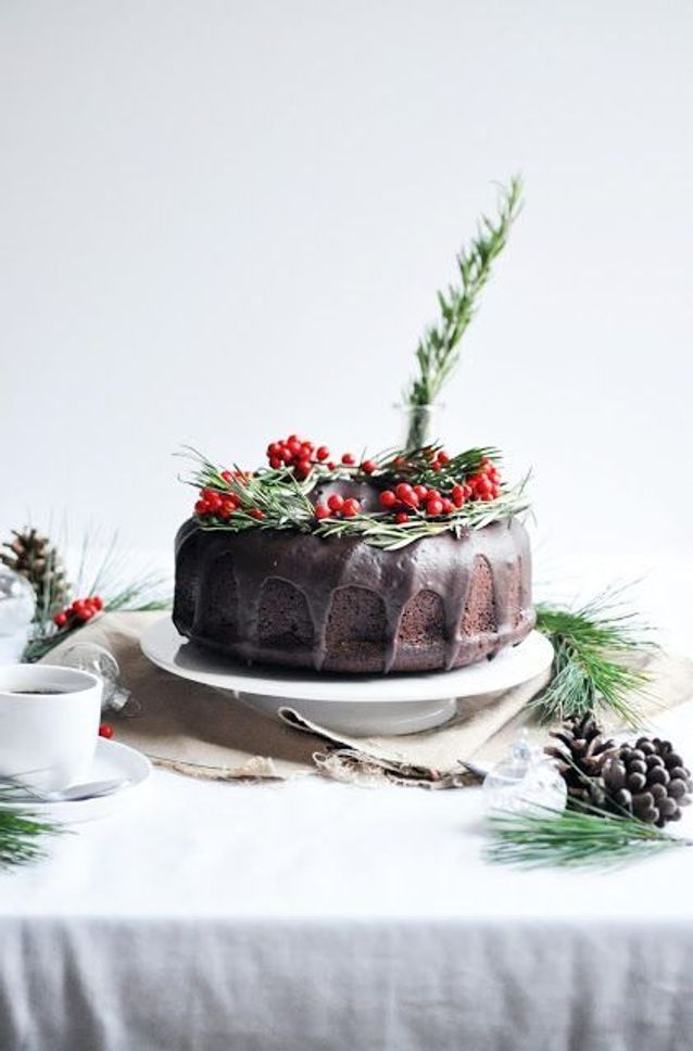 Christmas cake : Bundt cake chocolat orange et romarin
