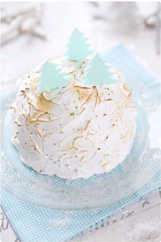 Christmas cake : Dôme meringué framboise citron vert