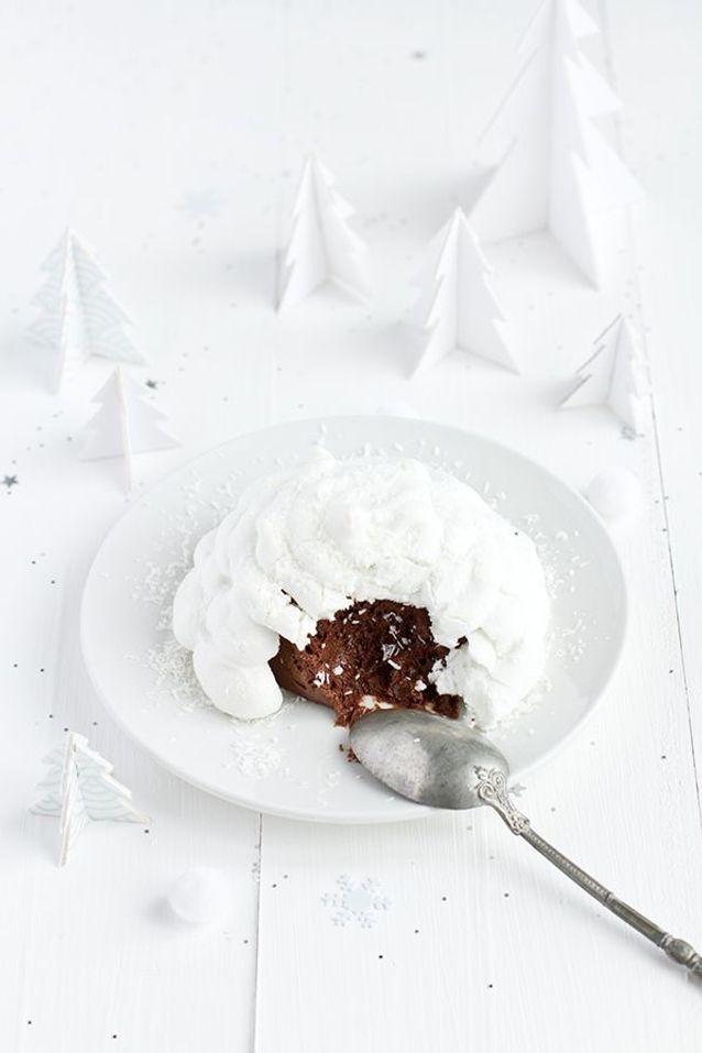 Christmas cake : Un igloo meringué et sa mousse au chocolat