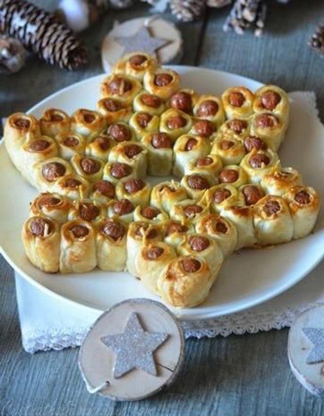 Feuilletés de Noël : Feuilletés de saucisses en étoile