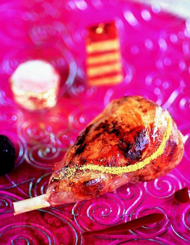 Délice de lapin doré au millefeuille de chorizo et foie gras