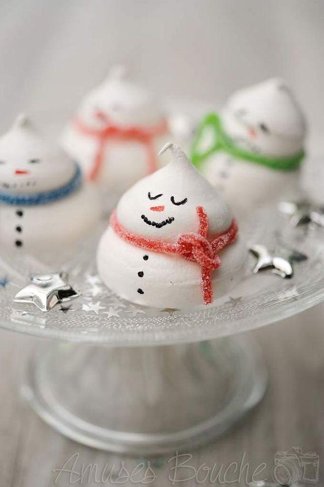 Bonhommes de neige en meringue