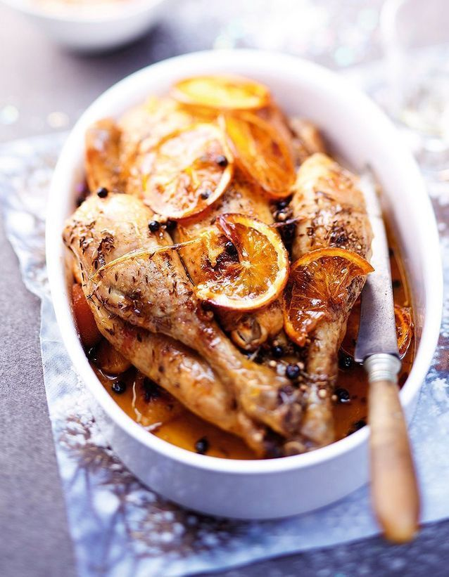 Repas de Noël sans gluten : Dinde à l'orange et aux épices en sauce
